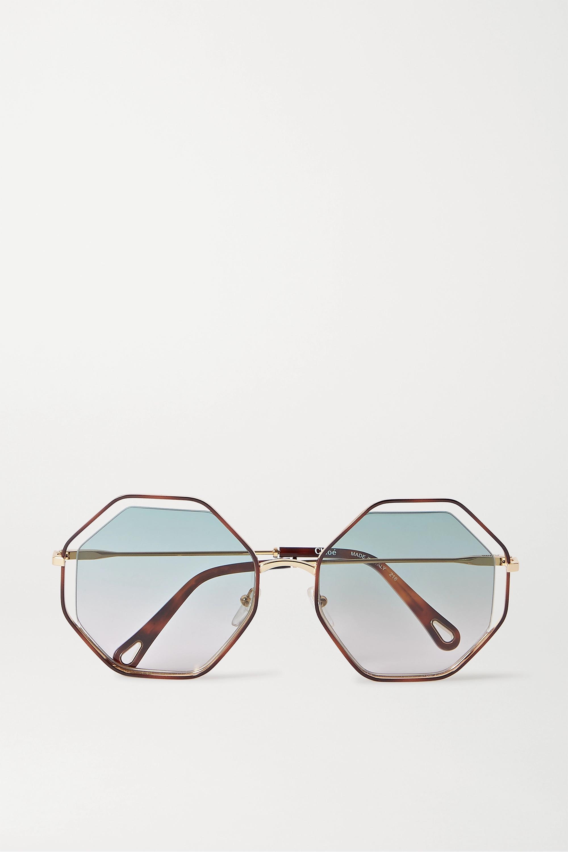 Chloé Poppy goldfarbene Sonnenbrille mit achteckigem Rahmen aus Azetat in Hornoptik