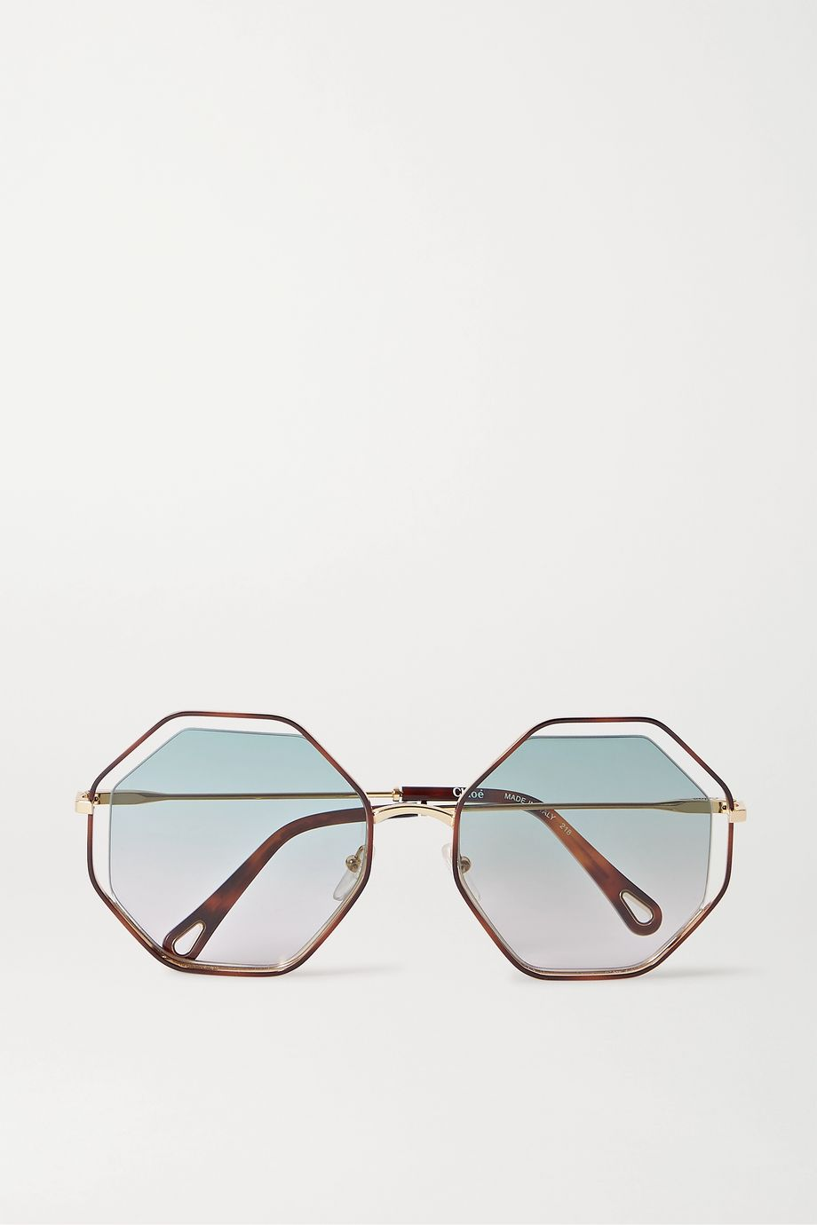 Chloé Poppy octagon-frame tortoiseshell acetate and gold-tone sunglasses