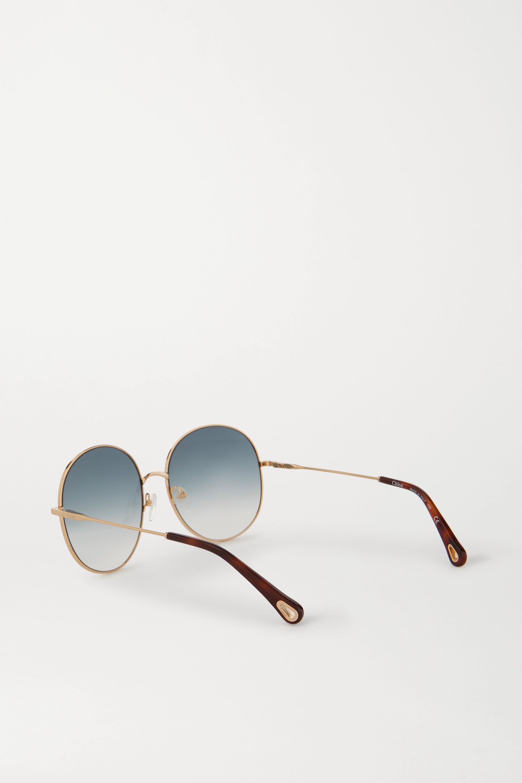 Chloé Eliz round-frame gold-tone sunglasses