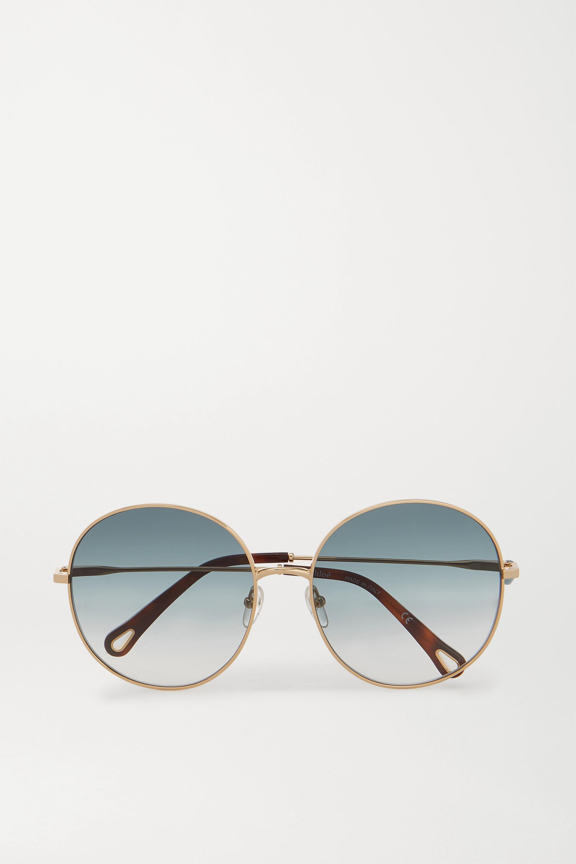 Chloé Eliz goldfarbene Sonnenbrille mit rundem Rahmen