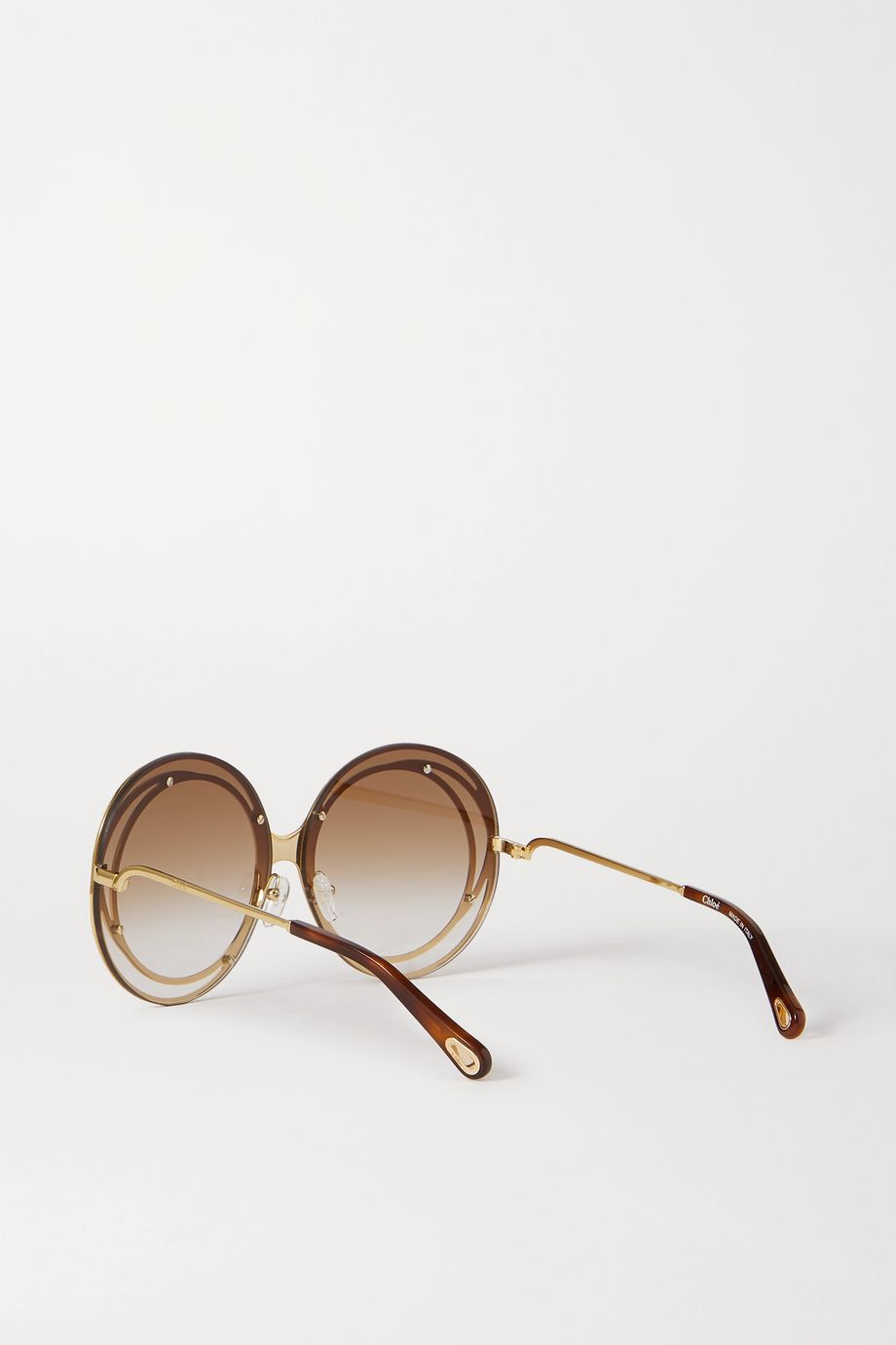 Chloé Carlina oversized round-frame acetate and gold-tone sunglasses