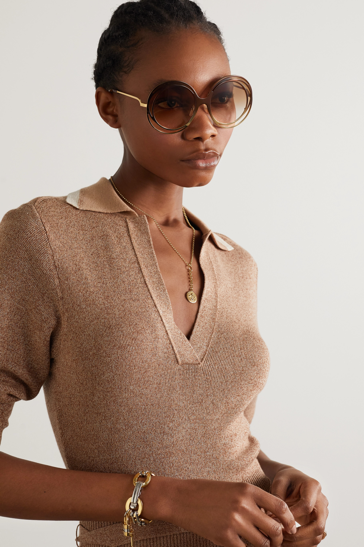 Chloé Carlina oversized round-frame acetate and gold-tone sunglasses