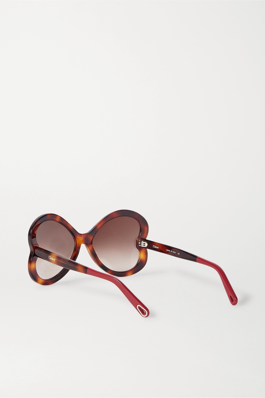 Chloé Bonnie Sonnenbrille mit herzförmigem Rahmen aus Azetat in Hornoptik