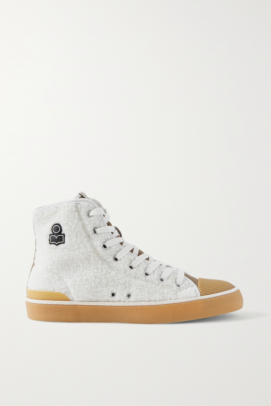 Isabel Marant Benkeen suede, canvas and rubber-trimmed faux shearling sneakers
