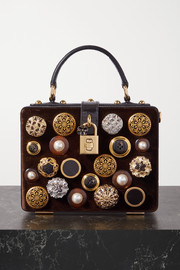 Dolce & Gabbana Box embellished velvet and lizard-effect leather tote