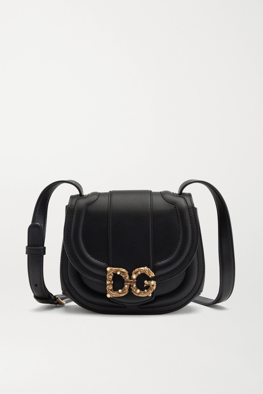 Dolce & Gabbana DG Amore embellished leather shoulder bag