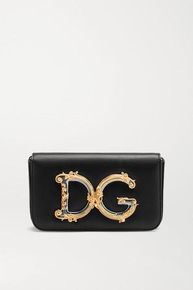 Dolce & Gabbana DG GIRLS EMBELLISHED LEATHER SHOULDER BAG