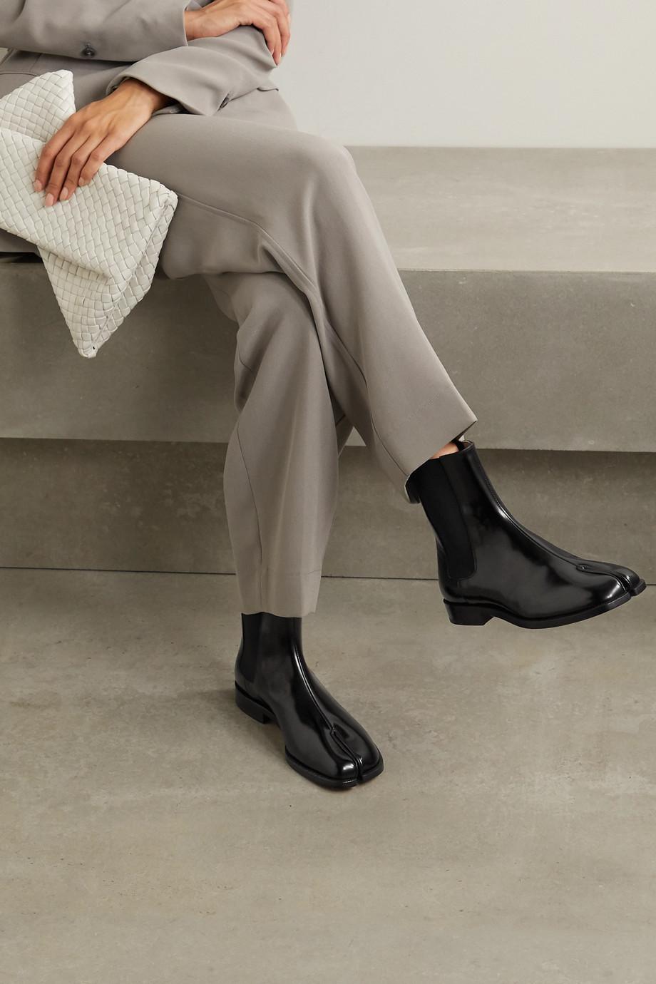 Maison Margiela Tabi split-toe patent-leather Chelsea boots