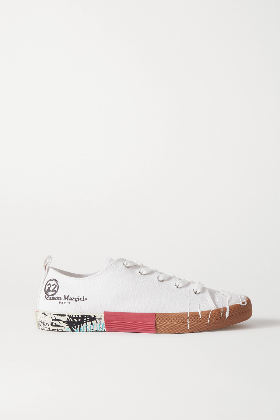 Maison Margiela Distressed printed canvas sneakers