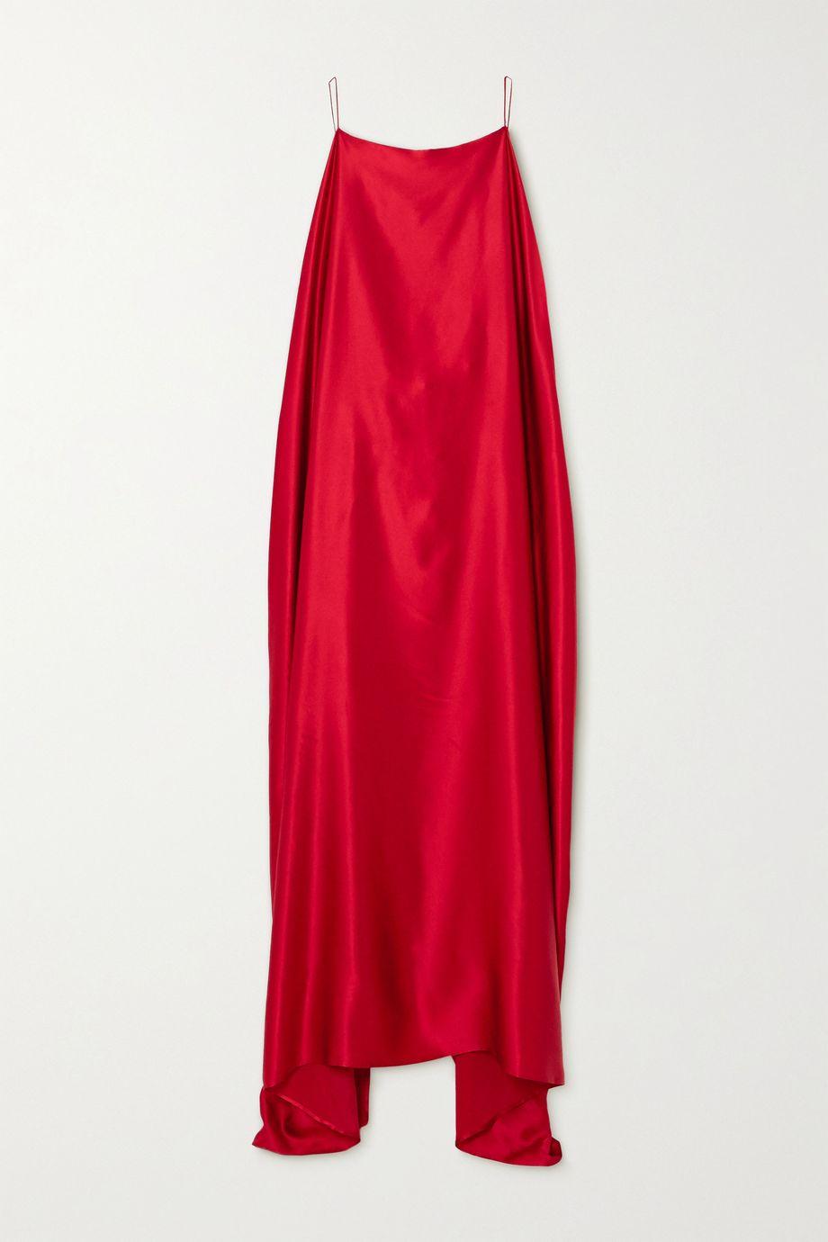 BERNADETTE Meredith draped asymmetric silk-satin dress
