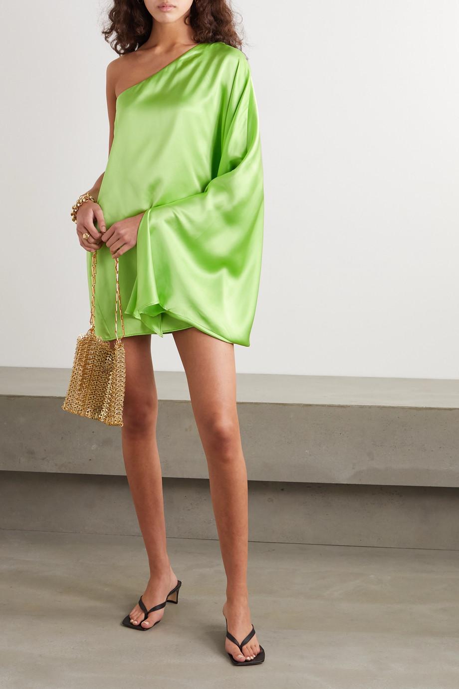 BERNADETTE Linda one-sleeve silk-satin mini dress