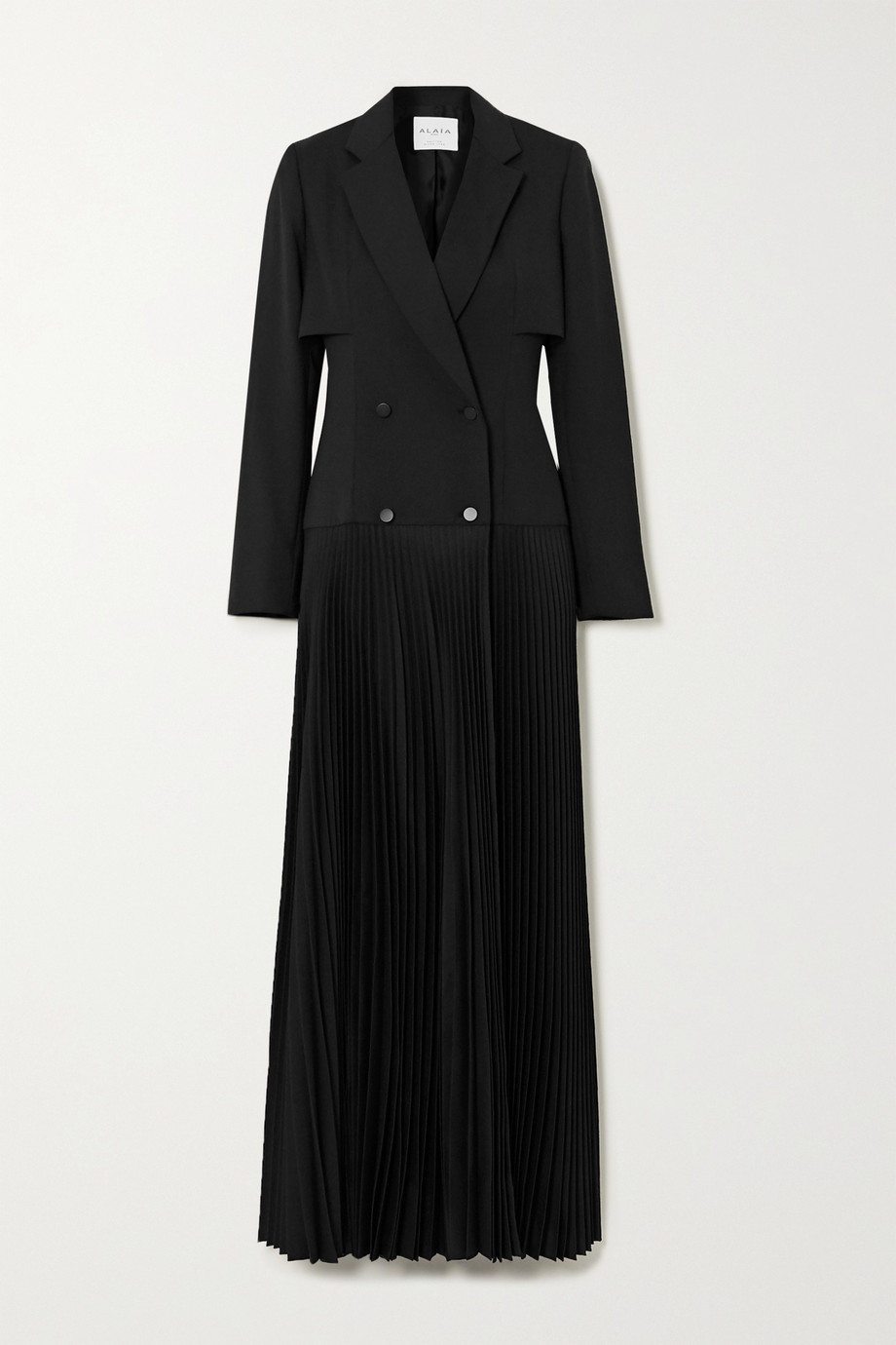 Alaïa Double-breasted pleated woven maxi dress