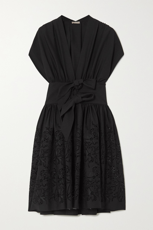 Alaïa Bow-embellished laser-cut wool mini dress