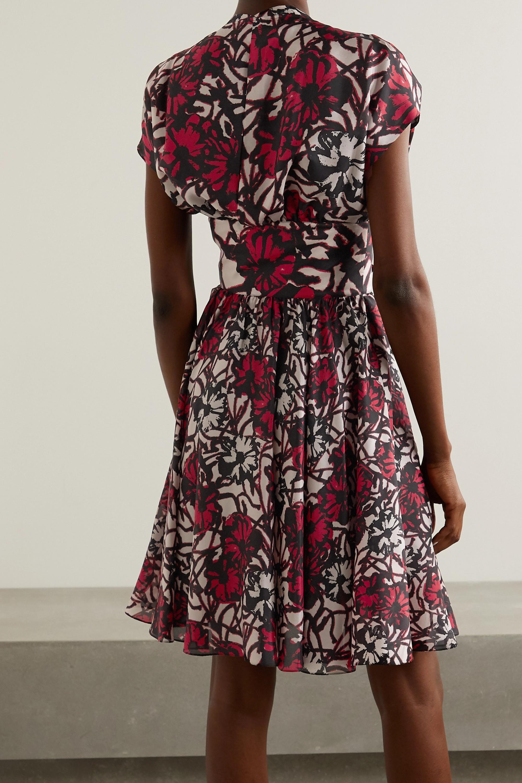 Alaïa Bow-detailed printed silk-habotai mini dress