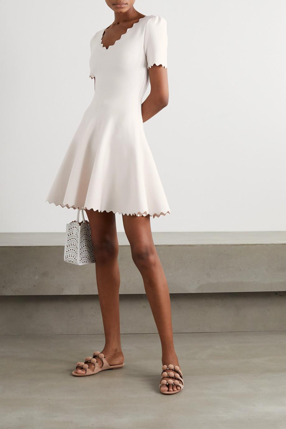 Alaïa Minikleid aus Stretch-Strick mit Wellenkante