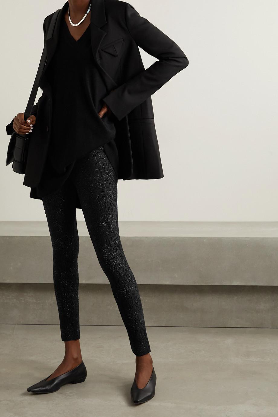 Alaïa Metallic jacquard-knit leggings