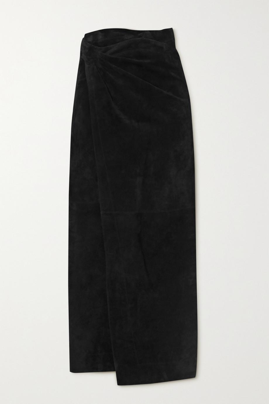 Alaïa Suede wrap maxi skirt