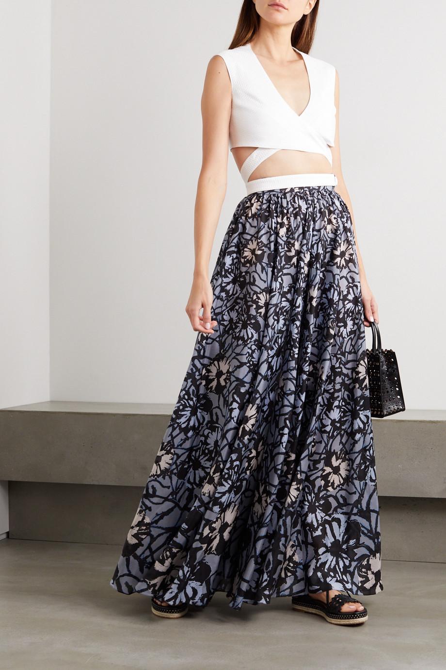 Alaïa Floral-print silk-habotai maxi skirt