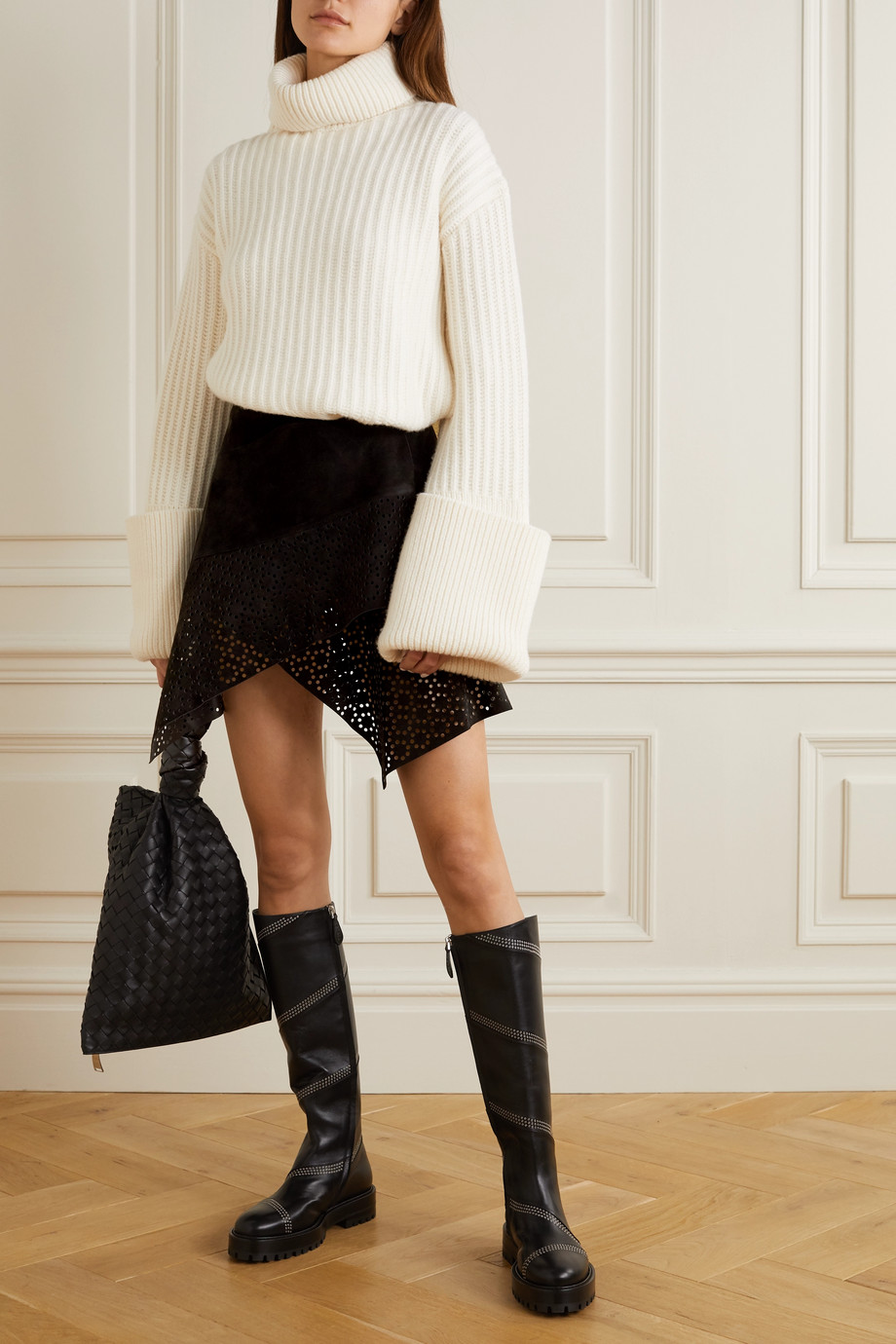Alaïa Laser-cut asymmetric suede mini skirt
