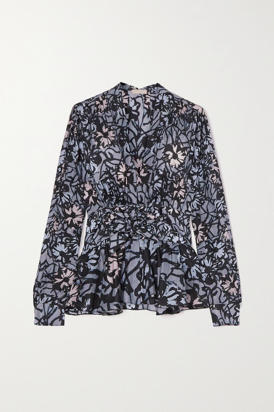 Alaïa Belted floral-print silk-habotai blouse