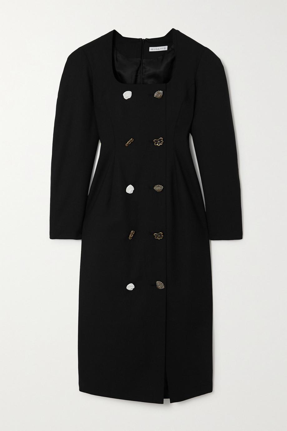 REJINA PYO Camila button-embellished wool-blend midi dress
