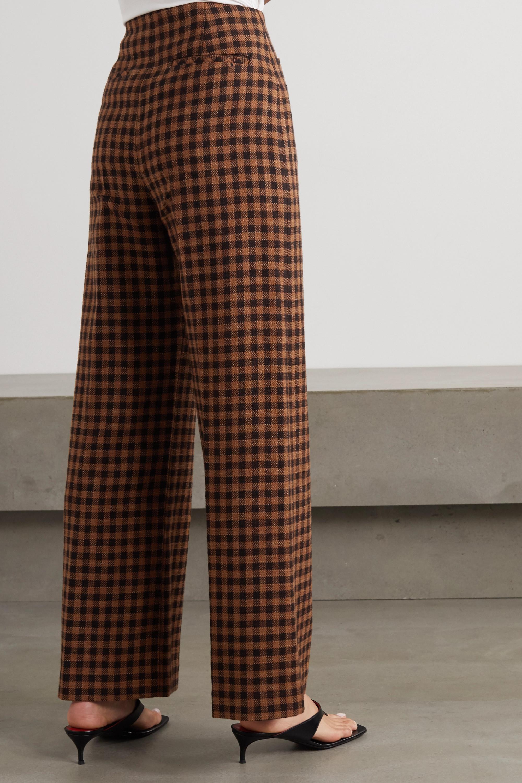 REJINA PYO Lexi Hose mit weitem Bein aus einer karierten Woll-Baumwollmischung