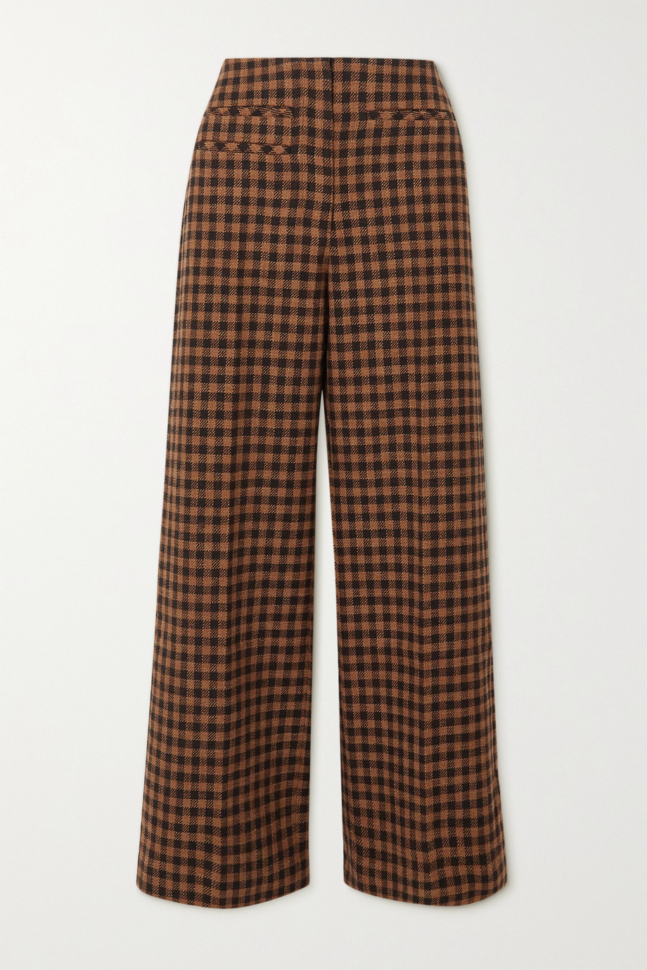 REJINA PYO Lexi checked wool and cotton-blend wide-leg pants