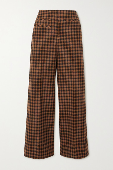 REJINA PYO - Lexi Checked Wool And Cotton-blend Wide-leg Pants
