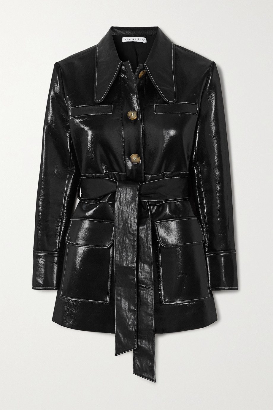 REJINA PYO Felix belted patent faux-leather jacket