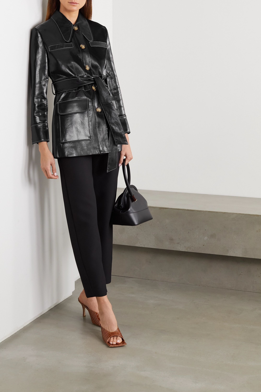 REJINA PYO Felix belted patent faux-leather jacket