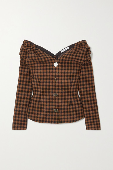 REJINA PYO - Miriam Off-the-shoulder Button-embellished Checked Wool And Cotton-blend Blouse