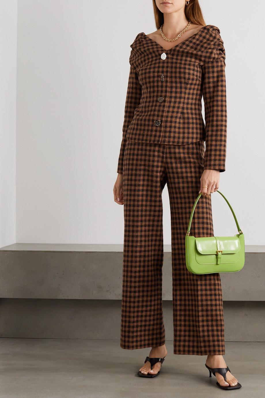 REJINA PYO Miriam schulterfreie Bluse aus einer karierten Woll-Baumwollmischung mit Zierknöpfen