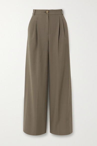 REJINA PYO - Ingrid Pleated Wool And Cotton-blend Wide-leg Pants