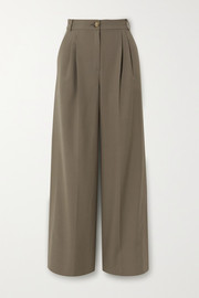 REJINA PYO Ingrid pleated wool and cotton-blend wide-leg pants