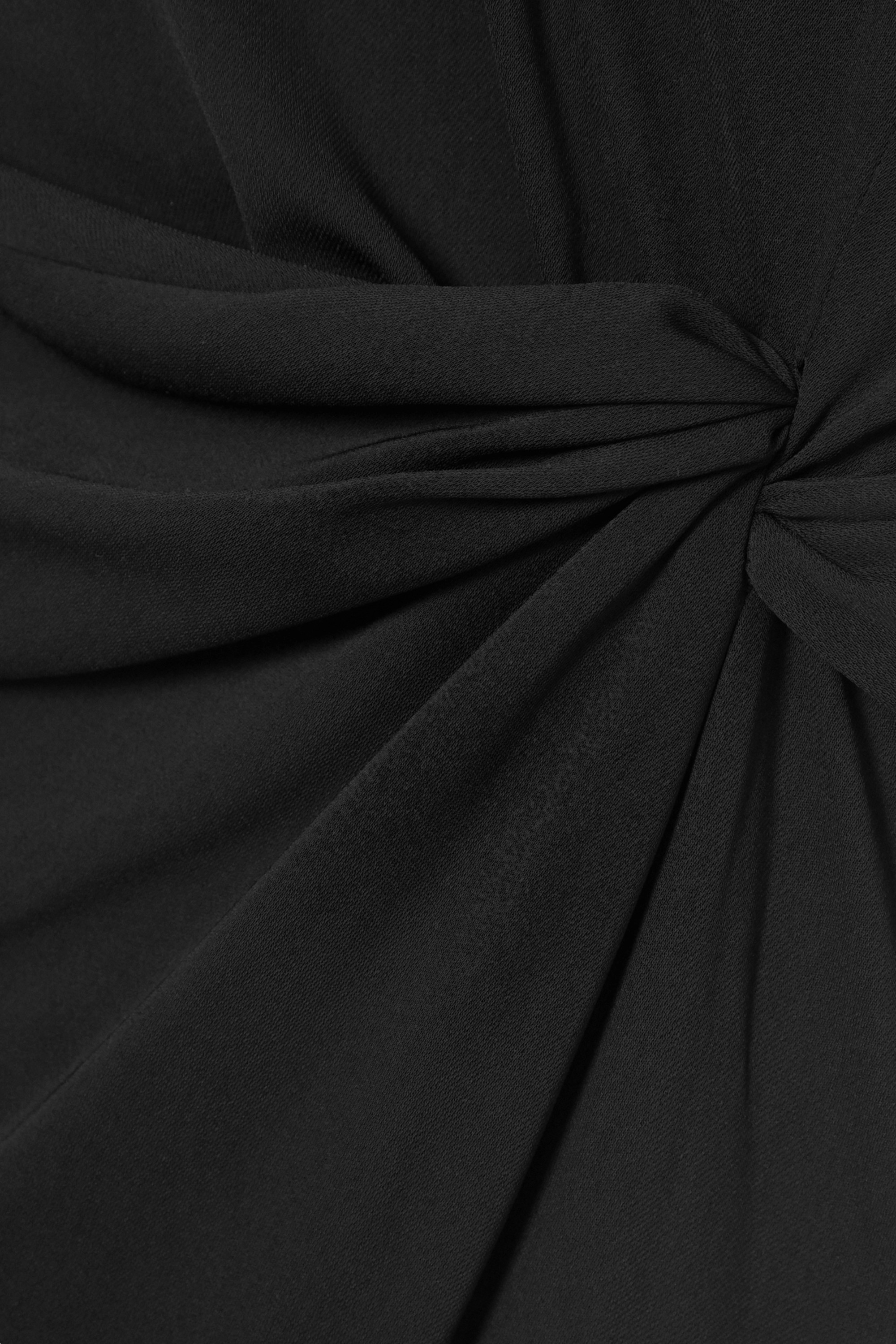 16ARLINGTON Maika feather-trimmed knotted crepe midi dress