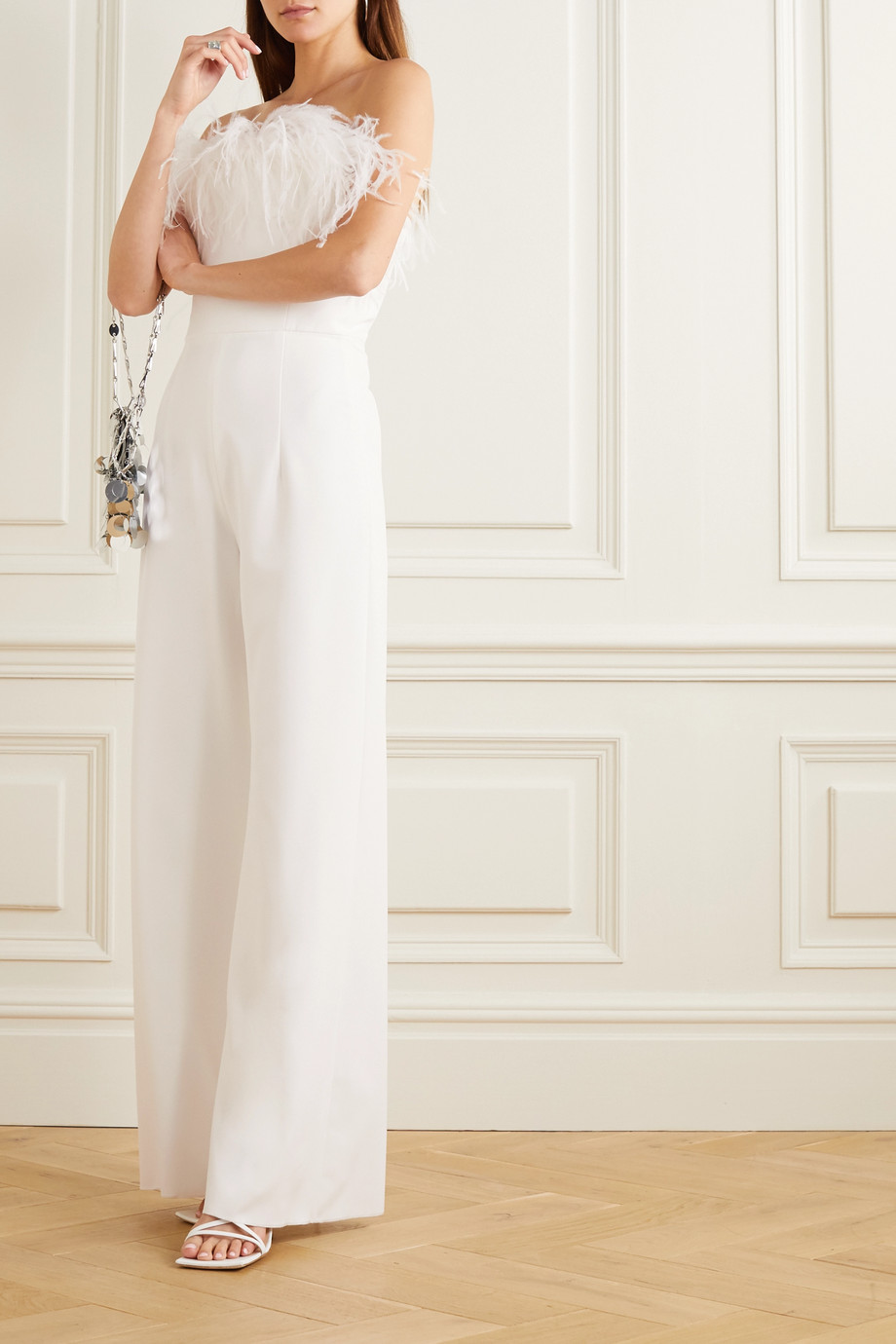 16ARLINGTON Taree strapless feather-trimmed crepe jumpsuit