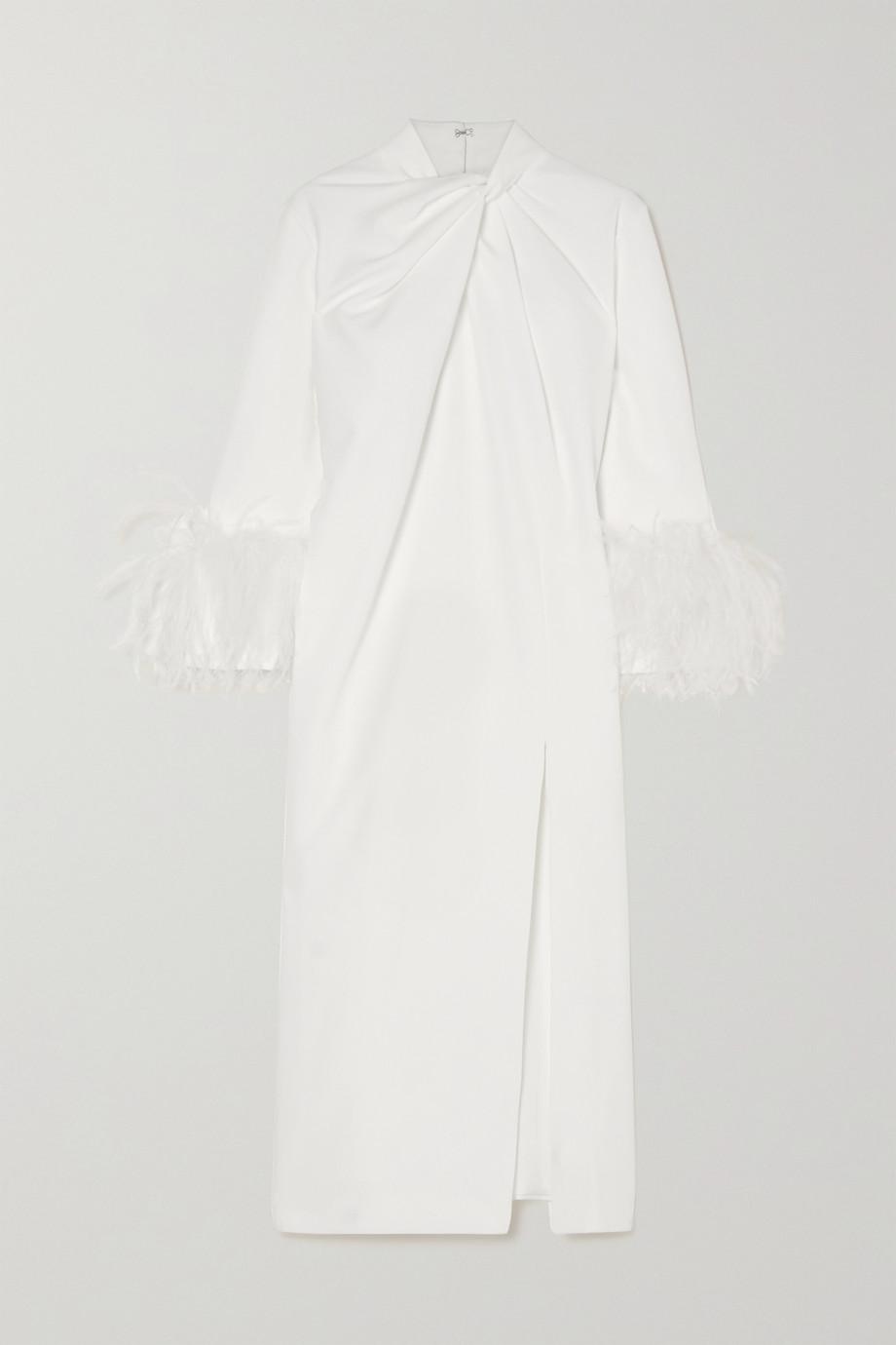16ARLINGTON Fujiko feather-trimmed knotted crepe midi dress