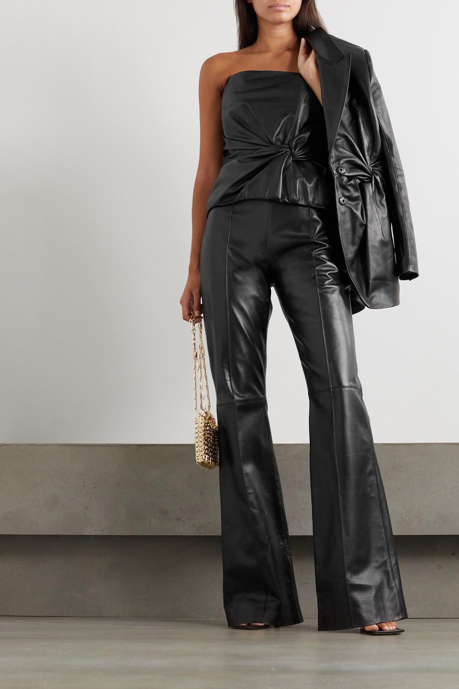 16ARLINGTON Hana leather flared pants