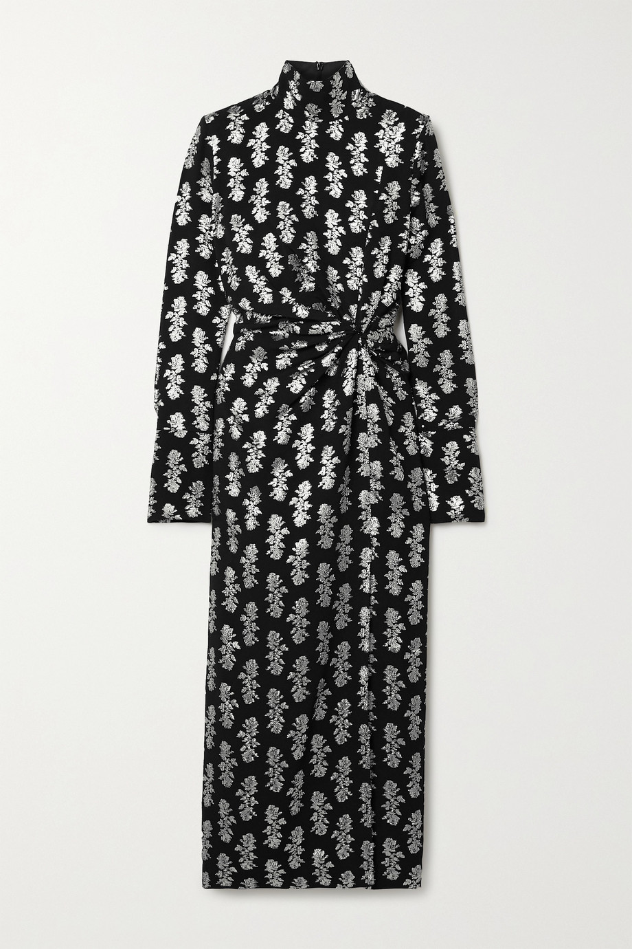 16ARLINGTON Morie knotted fil coupé crepe midi dress