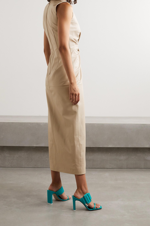 16ARLINGTON Akiko Midikleid aus Leder mit Twist-Detail