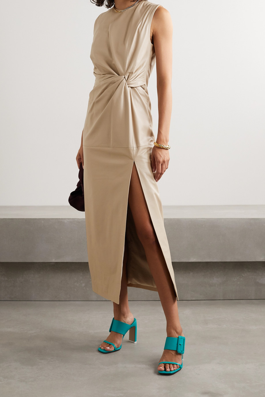 16ARLINGTON Akiko knotted leather midi dress