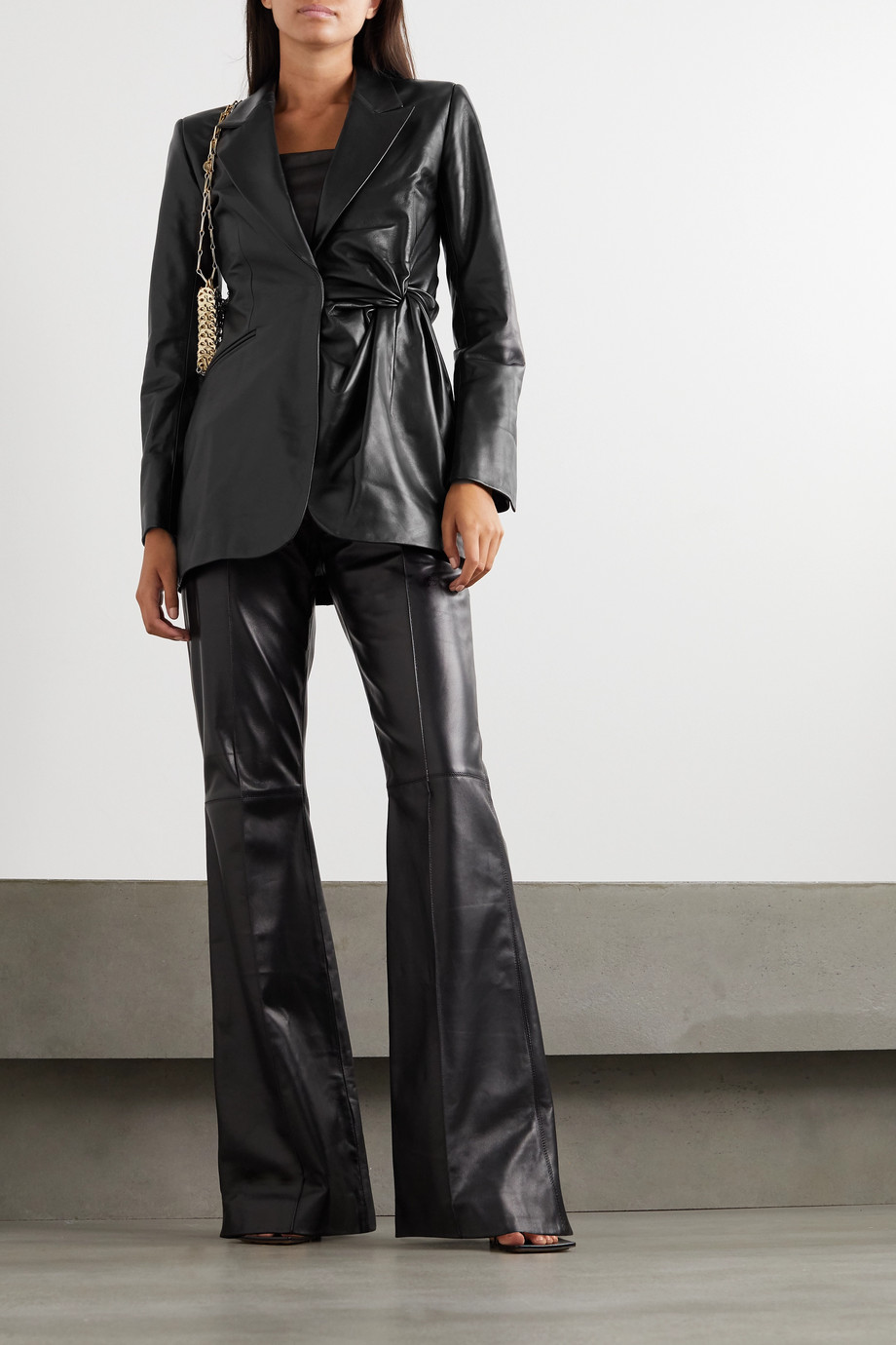 16ARLINGTON Moriyo knotted leather blazer