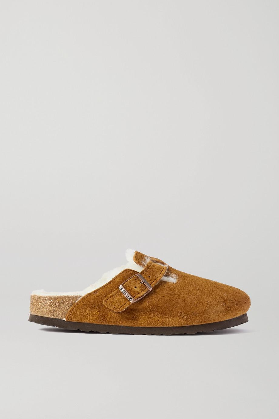 Birkenstock Boston shearling-lined suede slippers