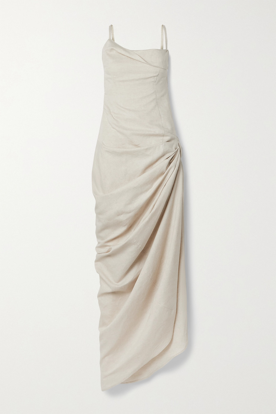 Jacquemus Saudade ruched linen and cotton-blend maxi dress