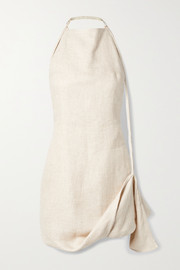 Jacquemus Figuerolles draped linen-blend halterneck mini dress