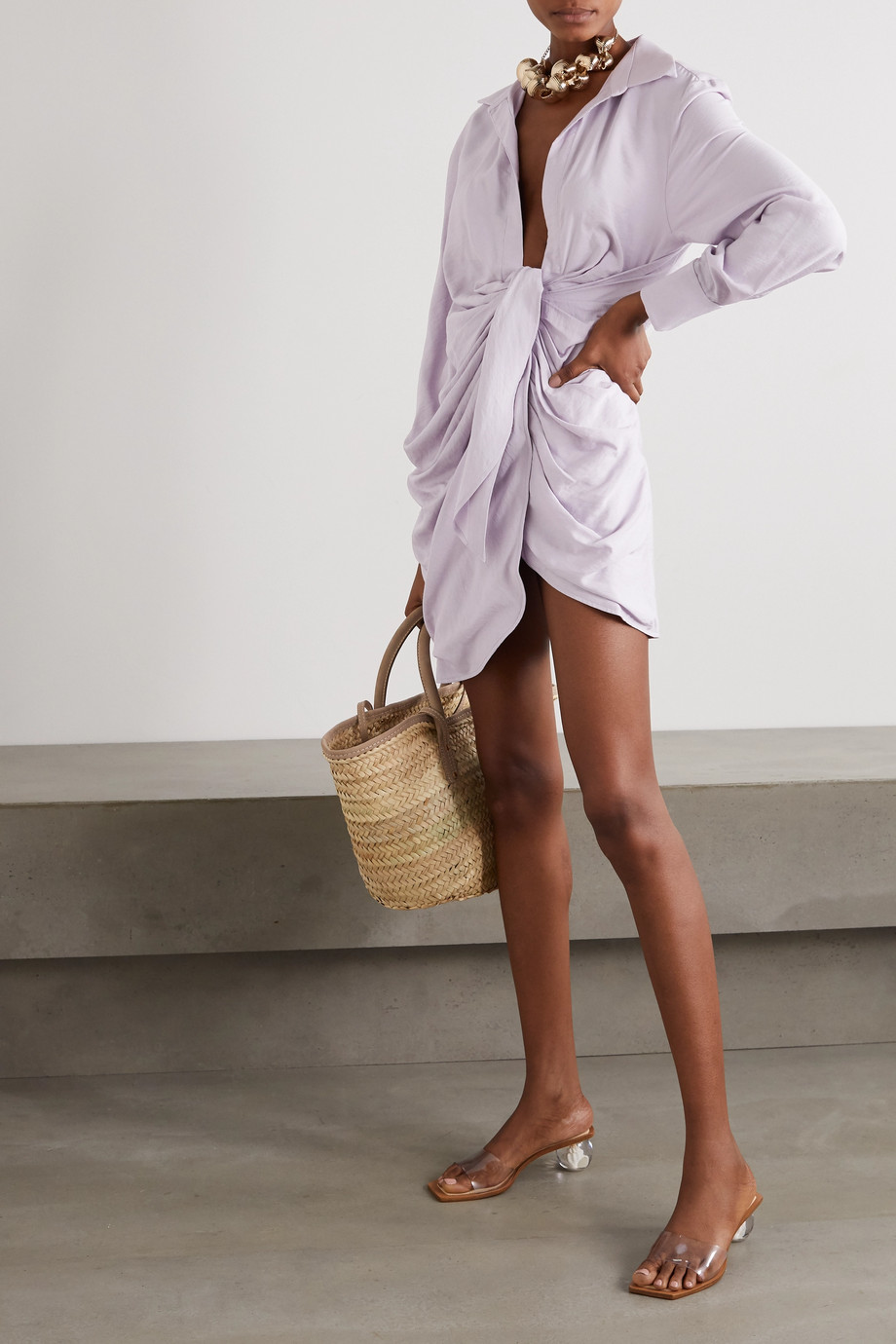 Jacquemus Bahia draped twill mini wrap dress