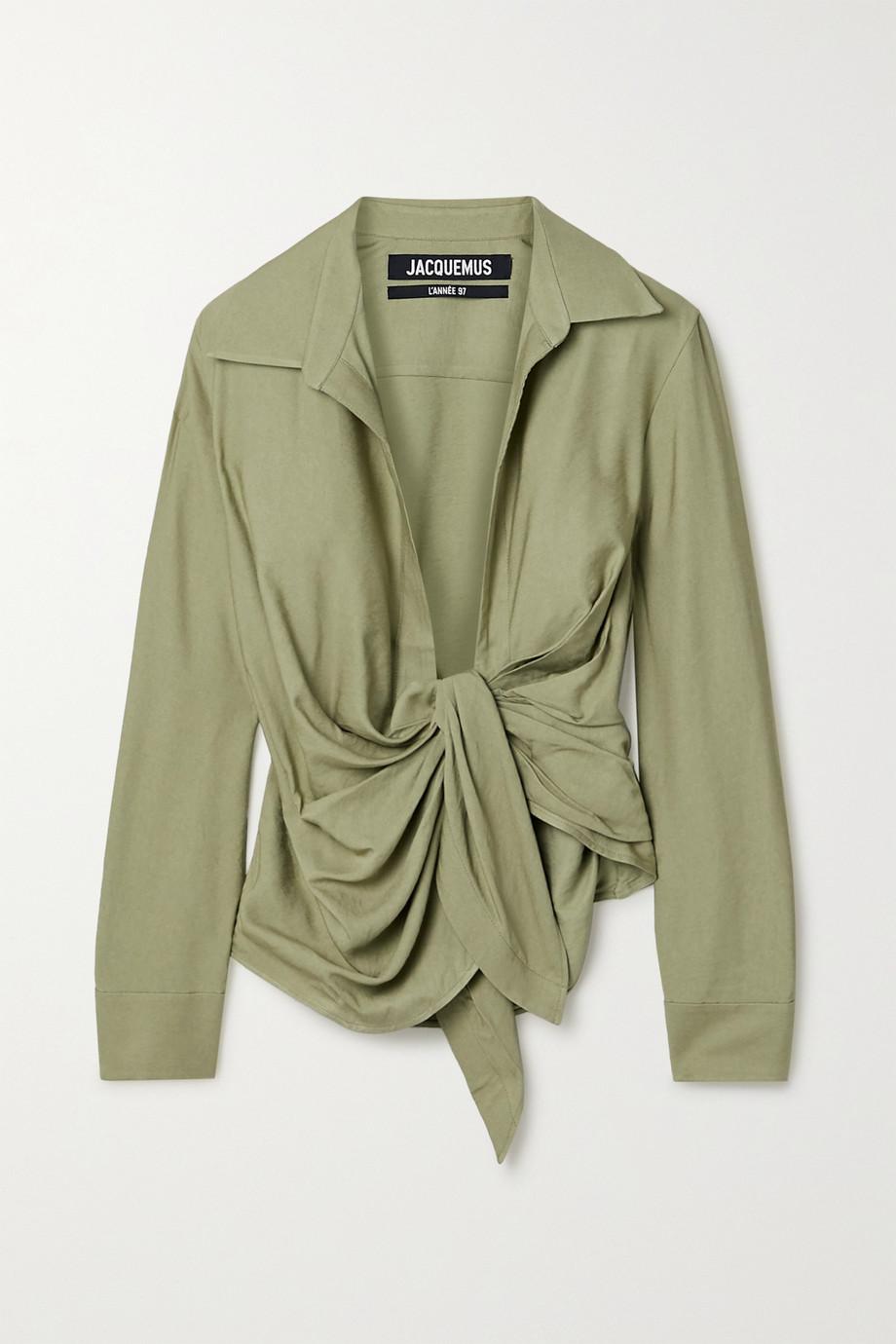Jacquemus Bahia tie-front twill shirt