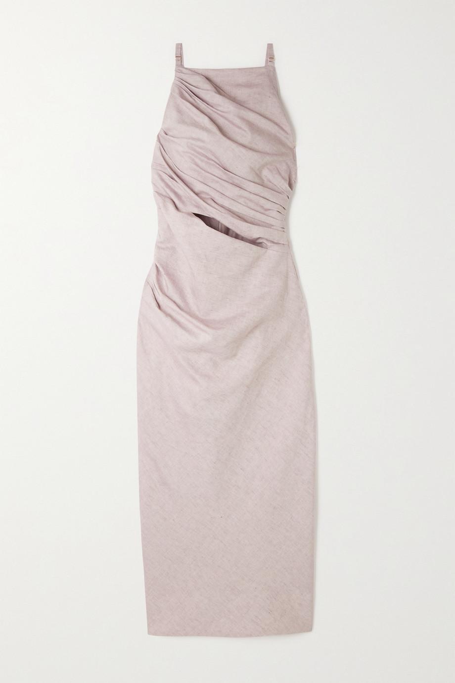 Jacquemus Cutout cotton and linen-blend midi dress