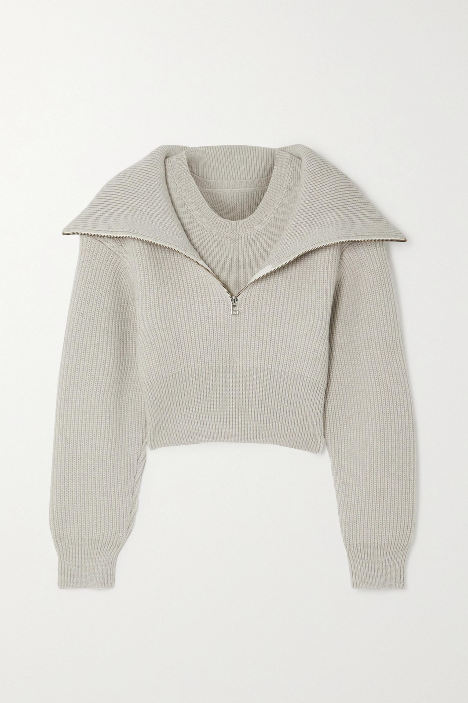 Light Gray Risoul Layered Ribbed Merino Wool Sweater Jacquemus Net A Porter