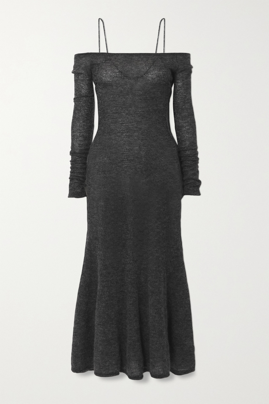 Jacquemus Maille Lauris cold-shoulder embroidered mohair-blend midi dress
